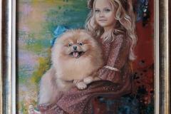 Tüdruk koerakesega,50x75 cm,õli, akrüül, lõuend2019