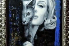 Marilyn Monroe kassiga,55x95 cm,õli, akrüül, lõuend2019