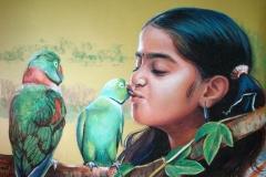 Musi papagoiga,50x70 cm,pastell, paber2014
