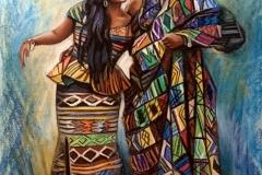 Aafrika rahvuslik paar,60x90 cm,pastell, paber2016