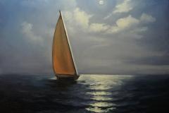 Purjekas merel, 60x50 cm,õli, lõuend2018  Hind 480 euro