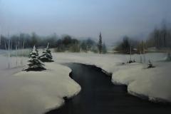 Jõgi metsas, 60x80 cm, õli, lõuend 2018 Hind 620.-€