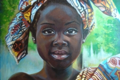 Mustanahaline tüdruk, 85x120 cm, akrüül, lõuend 2012