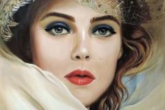 Naine kübaraga, 50x70 cm, lõuend, õli2018