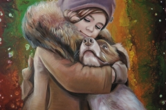 Tüdruk koerakesega,60x80 cm,õli, akrüül, lõuend2019
