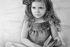 Tüdruk raamatuga, 50x70 cm, paber, kuiv pintsel 2018