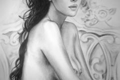 Monica Bellucci, 70x100 cm,kuiv pintsel, paber2014