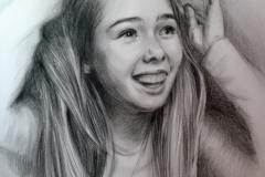 Õnnelik tüdruk, 50x70 cm,kuiv pintsel, paber2010