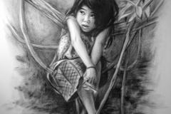 Tüdruk liaaniga,50x70 cm,kuiv pintsel, paber2014