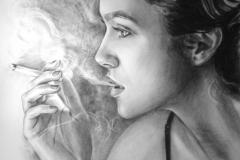 Suitsetav naine,70x100 cm,kuiv pintsel, paber2014