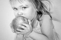 Maitsev õun,50x70 cm,kuiv pintsel, paber  2013