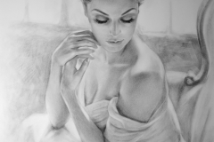 Naine aknal, 70x100 cm,kuiv pintsel, paber2018