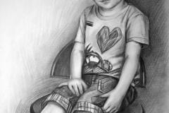 Poiss tollil, 60x90 cm,kuiv pintsel, paber2016