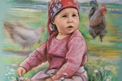Aurelia vanaema juures, 50x70 cm, paber, pastell 2017