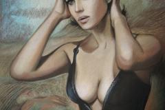 Monica Bellucci,50x70 cm,paber, pastell2018