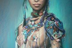 Ehetega naine,50x80 cm,pastell, paber2013