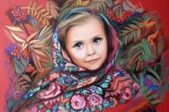 Vene tüdruk,50x70 cm,paber, pastell2015