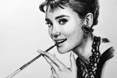 "Audrey Hepburn ""Breakfast at Tiffany's"",50x70 cm,paber, kuiiv pintsel2017Prices  520.€"