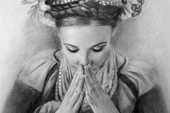 Rahvuslik naine pärjaga,50x70 cm,paber, kuiiv pintsel2018 Prices 520.-€