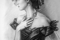 Näitleja Keira Knightley,37x45 cm,kuiv pintsel, paber2016  Prices  540.-€