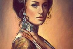 Näitleja Jane Seymour, 55x46 cm, pastell, paber2016 Prices 890.-€